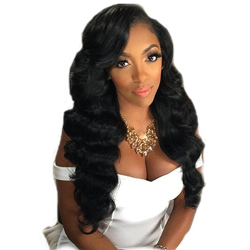 360 Lace Frontal Wig With Baby Hair 200% Density Hidden Knots 10% Human Loose Wave Hair Natural Black Color Pre Plucked For Black Women