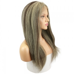 Yaki Straight 20inch Full Lace Human Hair Wig Color Grey highlight 2 Brazilian Human Hair Wig Bleached Knots