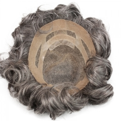Men's Toupee Human Hair Monofilament Net Base Thin Skin Around with Combs Toupee for Men 1B Mixed 60% Grey