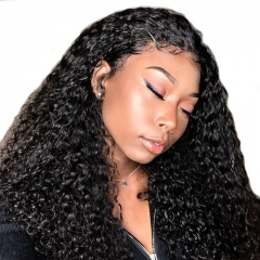 Curly Full Lace Wig Human Hair Natural Color Brazilian Hair 250% Density Kinky Curly  Human Hair No Tangle No Shedding