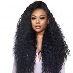 Full Lace Wig Human Hair 250% Density Pre-Plucked Natural Hair Line Deep Curly Natural Color Brazilian Human Hair For Black Women