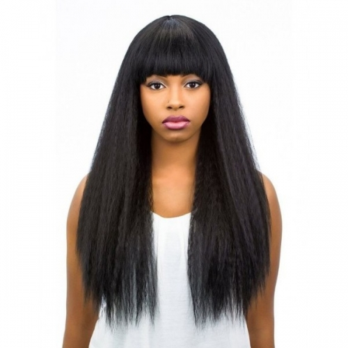 Pre Plucked Human Hair Lace Wigs With Bangs Italian Yaki Human Hair Wigs for Black Women with Baby Hair
