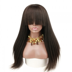 Pre Plucked Human Hair Lace Wigs With Bangs Italian Yaki Virgin Human Hair Wigs for Black Women with Baby Hair