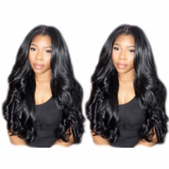 Nice Hair Body Wave Hair 360 Lace Wigs Virgin Brazilian  Human Hair Wigs 200% Density Bleached Knots Baby Hair Around Pre-Plucked