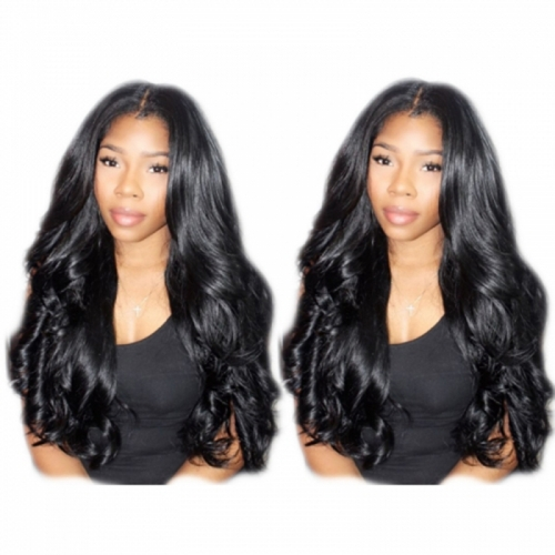Nice Hair Body Wave Hair 360 Lace Wigs Brazilian Human Hair Wigs 200% Density Bleached Knots Baby Hair Around Pre-Plucked
