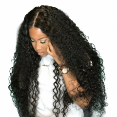 360 Lace Frontal Wigs Deep Curly  Human Hair Wig Natural Black Color 200% Density Peruvian Virgin Hair On Sale
