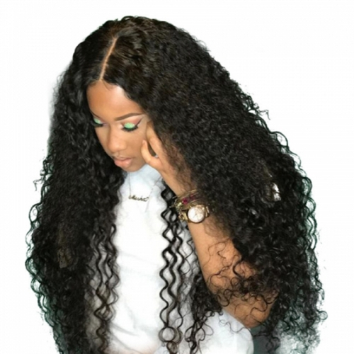 360 Lace Frontal Wigs Deep Curly Human Hair Wig Natural Black Color 200% Density Peruvian Remy Hair On Sale