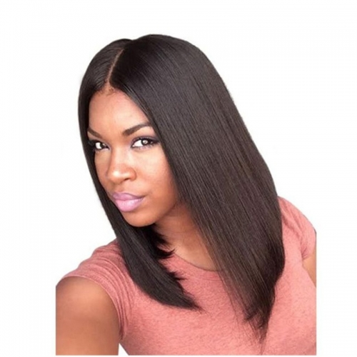 Middle Deep Invisible Parting Short Bob Lace Front Human Hair Wigs Glueless Brazilian Remy Human Hair 150% Density Lace Wig Natural Color
