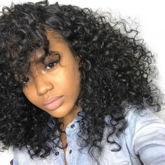 Full Lace Wig With Baby Hair 250% Dneisty Glueless Wig with Baby Hair Bleached Knots Natural Color Human Kinky Curly Hair Wig For Black Women
