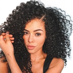 High Density 250% Deep Curly Wigs with Baby Hair for Black Women Natural Color  Human Hair Full Lace Human Hair Wigs