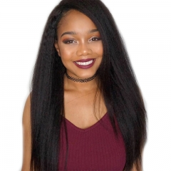 Natural Hair Wigs 250% Density Kinky Straight Hair Baby Hair Bleached Knots Pre Plucked Full Lace Wigs For Black Women