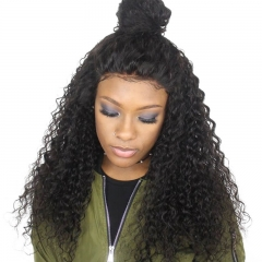 Full Lace Wig 100% Brazilian Virgin Natural Color Human Hair Deep Wave High Quality Gluessless Wig with Natural Baby Hair Bleached Knots Pre-Pluckhed