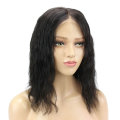 Full Lace Wigs Bob Cut 100% Human Hair 12Inch Natural Black Hair Natural Wave Middle Part Bob Glueless Lace Wigs Natural Hair Line With Baby Hair