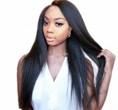 Glueless Full Lace Wigs Affordable Human Hair Light Yaki Human Hair Wig with Natural Baby Hair Hidden Knots Natural Color Brazilian Virgin Hair