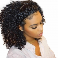 Human Hair Full Lace Wigs Glueless Full Lace Wig Virgin Brazilian Hair Natural Black Kinky Curly Hair With Natural Baby Hair Bleached Knots