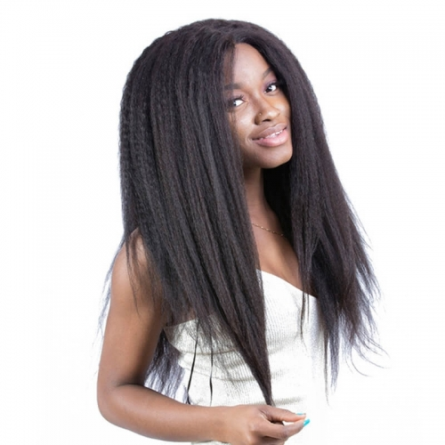 Natural Color Brazilian Human Hair Kinky Straight Full Lace Wigs With Natural Baby Hair Bleached Knots Pre-Plucked
