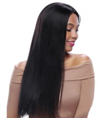 Top Quality Full Lace Wigs 100% Virgin Peruvian Hair Natural Black Light Yaki Human Hair Wig Natural Baby Hair Around Hidden Knots Pre-Plucked