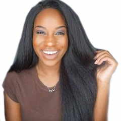 Full Lace Wigs Yaki Straight Peruvian Virgin Human Hair Natural Color Glueless Lace Wig with Baby Hair Pre-plucked Natural Hair Line On Sale
