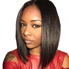 Full Lace Wigs Online  Human Hair Straight Bob Wig Bleached Knots 180% Density Natural Color Glueless Wig For Sale