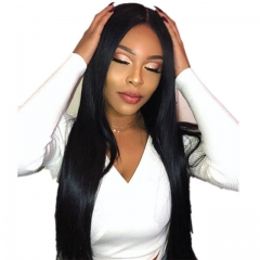 Bleached Knots Full Lace Wig Indian Remy Hair Silk Straight Natural Color Human Hair Wigs With Baby Hair Pre-Plucked