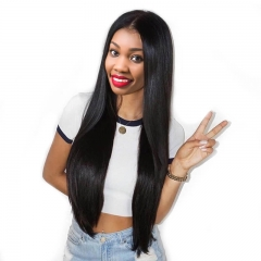 Full Lace Wigs Ponytail Styles Cheap Glueless Silky Straight Hair 100% Indian Remy Human Hair Wig with Natural Baby Hair Natural Hair Line