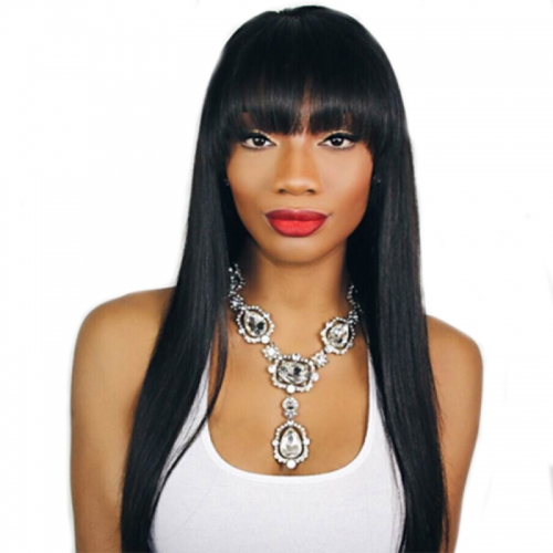 Lace Wig Pre Plucked Human Hair Wigs With Bangs Light Yaki Straight Human Hair Wigs for Black Women with Baby Hair Natural Color
