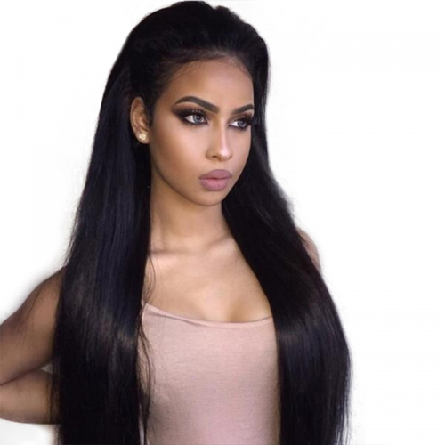 Natural Black Silk Straight Indian Human Hair Wig Beautiful Full Lace Wigs
