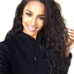 Wet And Wavy Glueless Full Lace Wig Natural Wave Brazilian Remy Human Hair Free Part Natural Hairline for Black Women Natural Color 14 inch
