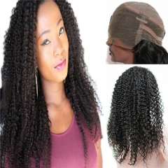 360 Lace Frontal Wig Kinky Curly Extra High Density Brazilian Remy Human Hair Full Lace Wigs with Baby Hair Natural Hairline for Black Women