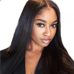 Glueless Full Lace Wig Silk Straight Brazilian Remy Human Hair Free Part Natural Hairline for Black Women Natural Color 24 inch