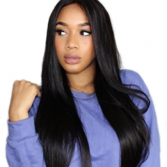 Full Lace Wigs Brazilian Virgin Human Hair Glueless Full Lace Wigs Silk Straight Lace Front Wigs Natural Color (26 inch, Lace Front Wigs)