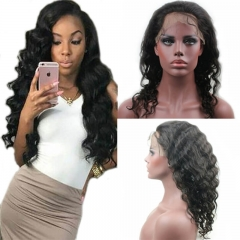 Glueless Full Lace Wigs Brazilian Virgin Remy Human Hair Loose Wave Bleached Knots with Baby Hair (14 inch)