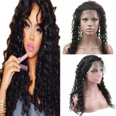 Lace Front Human Hair Wigs Unprocessed Brazilian Virgin Human Hair Deep Wave Glueless Full Lace Wig for Black Women