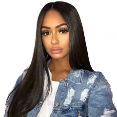 Straight Lace Front Wigs Baby Hair Natural Black Human Hair  Unprocessed Hair Bleached Knots Pre-Plucked Natural Hairline