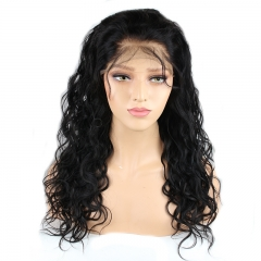 Best Lace Front Wigs Online 22 inch Natural Black Loose Wave Brazilian Hair Natural Human Hair Wig with Baby Hair Bleached Knots