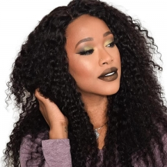 Lace Front Wigs Human Hair Natural Black Remy Hair Deep Curly Brazilian Hair Bleached Knots Pre-Plucked Natural Hair Line