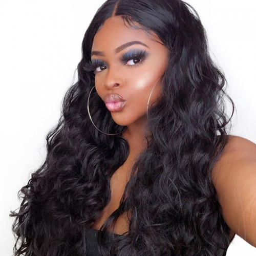 Lace Front Wigs On Sale Human Hair Loose Wave Bleached Knots Color 1B Brazilian Hiar Wholesale Lace Wig With Natural Baby Hair Hidden Knots Natural H