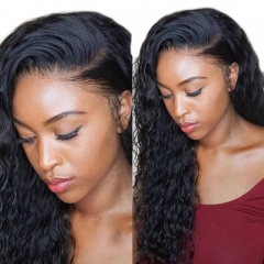 Lace Front Wigs Natural Black Human Hair Water Wave Human Hair Wig Hidden Knots Pre-Plucked Natural Hair Line
