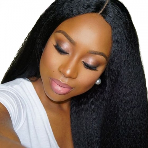 Brazilian Human Hair Lace Front Wigs Kinky Straight Human Hair Natural Black Bleached Knots Pre-Plucked With Natural Hairline