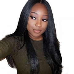 Human Hair Lace Front Wigs with Natural Part Brazilian Human Hair Light Yaki 150% Density wigs No Shedding Pre-Plucked Natural Baby Hair Bleached Knot