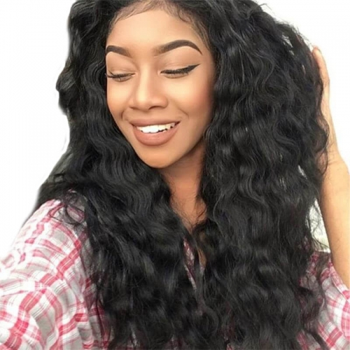 Disscount Human Hair Lace Front Wigs 150% Density Loose Wave Ponytail Wigs Pre-Plucked Natural Hair Line Bleached Knots Natural Hair Line