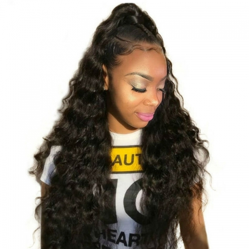 human hair wig stores Pre-Plucked Natural Hair Line 150% Density Wigs Loose Wave Lace Front Ponytail Wigs