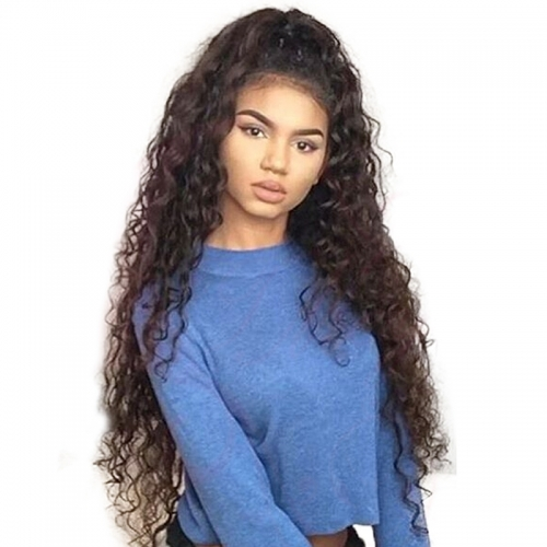 Pre-Plucked Natural Hair Line Deep Wave Lace Front Human Hair Wigs with Baby Hair 150% Density Wigs