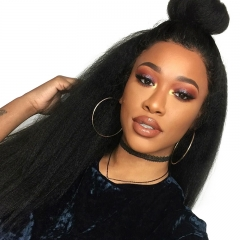 Pre-Plucked Natural Hair Line Kinky Straight good Lace Front Human Hair Wigs with Baby Hair 150% Density Wigs Bleached Knots On Sale