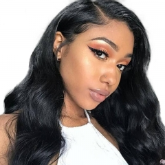 Lace Front Wig Real Hair Discount Wigs For Black Women Elastic Cap  Natural Color Human Hair Wig Body Wave Pre-Plucked Natural Hair Line Bleached