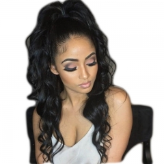 Affordable Wigs Natural Black 100% Brazilian Virgin Human Hair Wig Loose Wave Lace Front Wigs