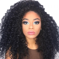 Brazilian Lace Front weave Ponytail Wigs Kinky Curly Wig Pre-Plucked Natural Hair Line 150% Density wigs