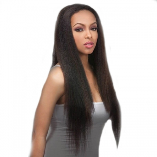 Lace Wigs With Baby Hair Natural Black Light Yaki Lace Front Wig Human Hair Bleached Knots Pre-Plucked Natural Hair Line