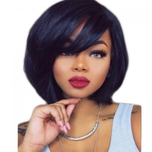 130% Density Short Straight Human Hair Bob Wig For Women Natural Color Lace Front Human Hair Wigs Bleached Knots Pre-Plucked Natural Hairline