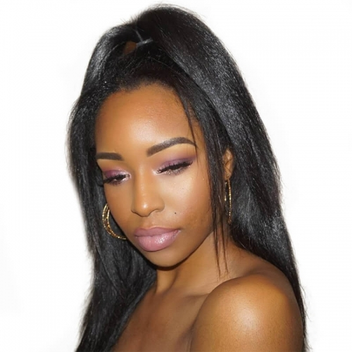 Yaki Lace Front Wigs Brazilian Human Hair Natural Color Unprocessed 150% Density wigs No Shedding Pre-Plucked Natural Hair Line Bleached Knots